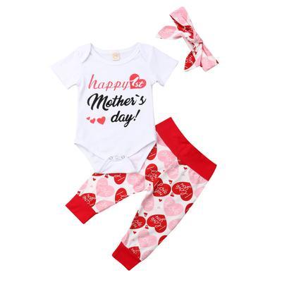 16f57e12f Día de las madres carta impresa Romper pantalones venda trajes conjunto niño  niña