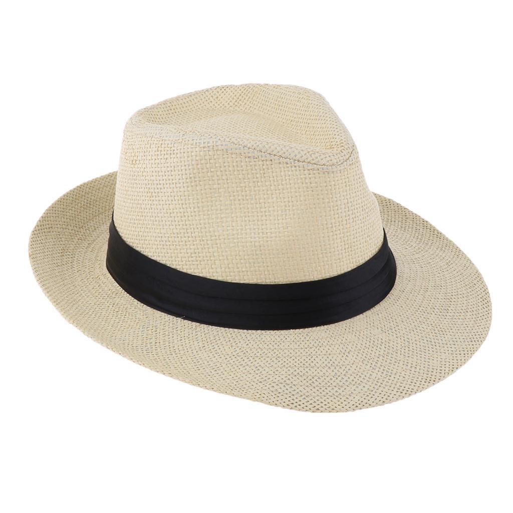 Hot Hat Men Women Fedora Trilby Wide Brim Straw Cap Summer Beach Sun Panama