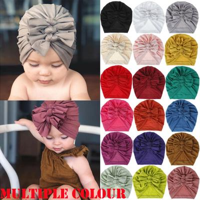 Newborn Kids Baby Girl Bowknot Turban Headwrap Beanie Hat Cap Headband Hair Band