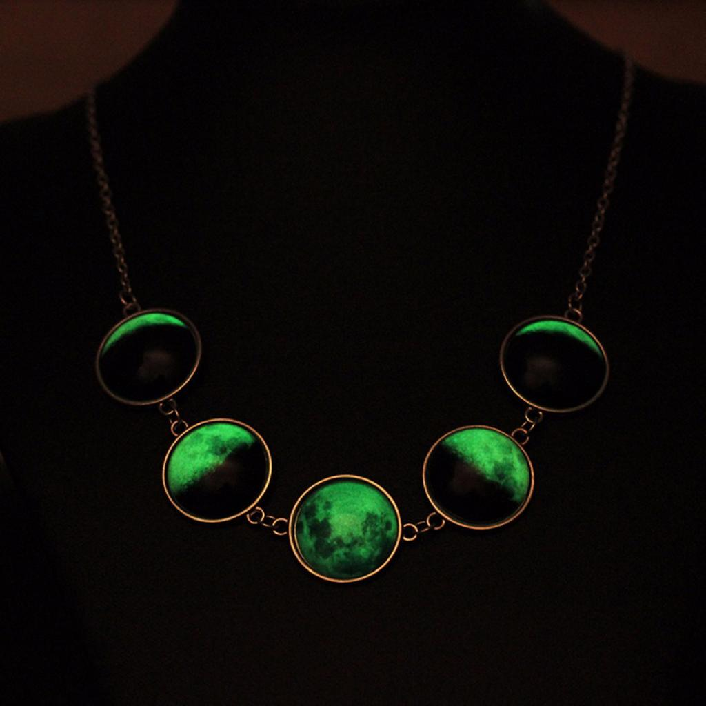Luminous Glow in the Dark Lunar Moon Phase Glass Dome Cabochon Necklace Chain