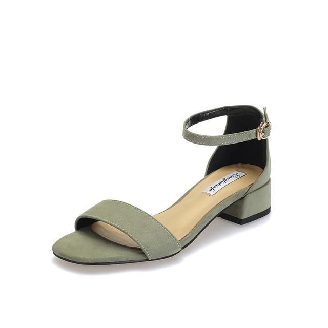 Tacones de zapatos rebaño de mujeres señoras hebilla sandalias peep baja  diapositivas Casual zapatos de alta calidad Zapatos del dedo del pie -  comprar a ... d454593f7dc7