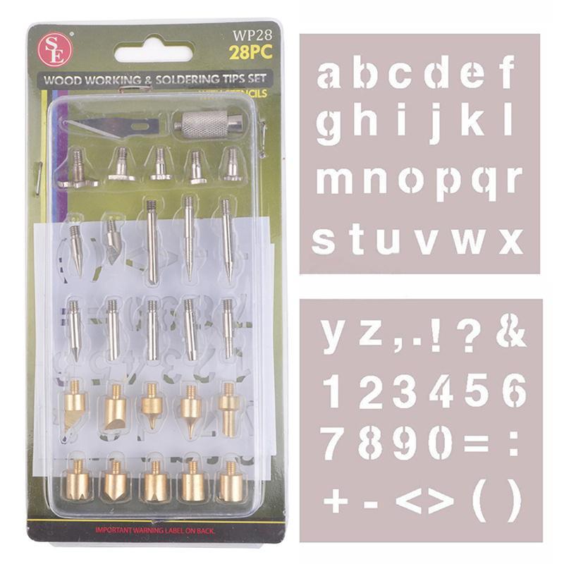 28pc Wood Burning Pen Tips /& Stencil Set WP28