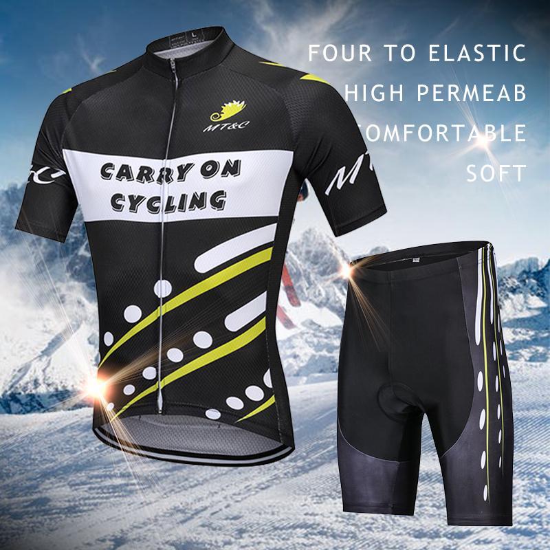 Été Cyclisme Shorts Sets MTB Bike Jersey Full Fermeture éclair Top 3D GEL rembourré Pantalon