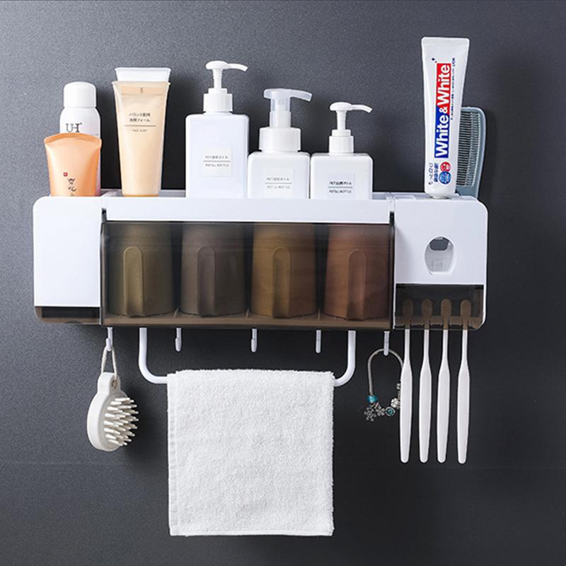 Toothbrush Toothpaste Tumbler Holder Bathroom Accessory Shelf Rack Organiser