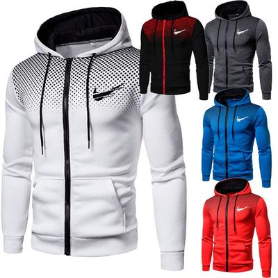 Autumn and Winter Men's Fashion Casual Cardigan Hooded Sweater Printing Youth Men's Jacket
