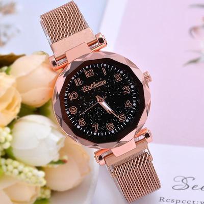 Women'S Watch Fashion Stainless Steel Quartz Watch Magnetic Buckle Starry Sky Bracelet Watch