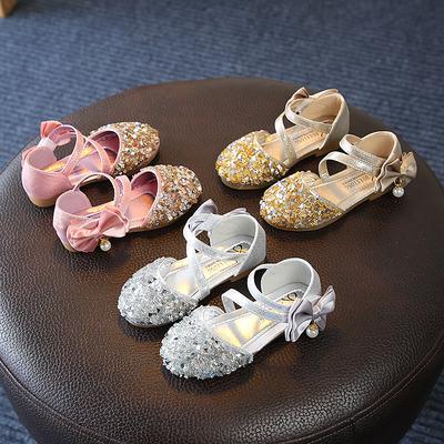 Princess Girls Sequins Sandals Children's Summer Beach Shoes Bowknot Sandals
