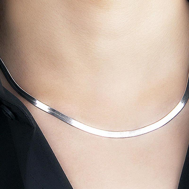 Плоская костная змея цепи голый воротник цепи Collarbone лезвие короткой цепи Мужчины и женщины фото