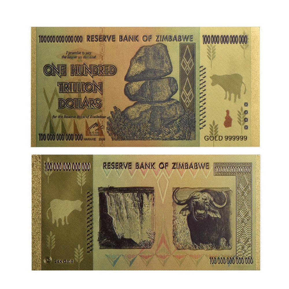 1PC Zimbabwe 100 Trillion Banknote Gold Bill World Money Collection Souvenir