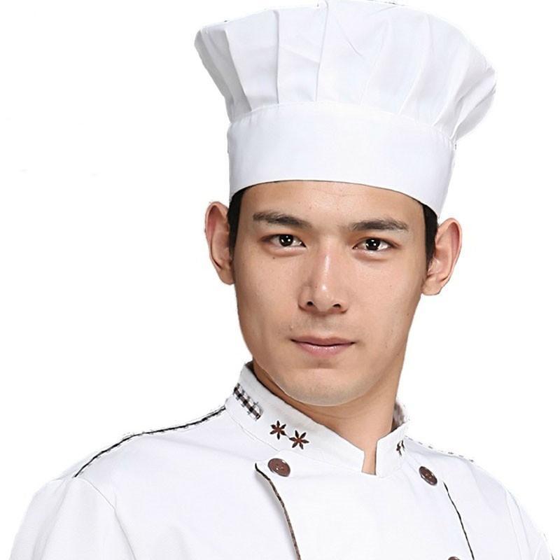 Adultos elástico blanco Chef Hat Baker BBQ cocina cocina tamaño del ... cbf6712b8b1