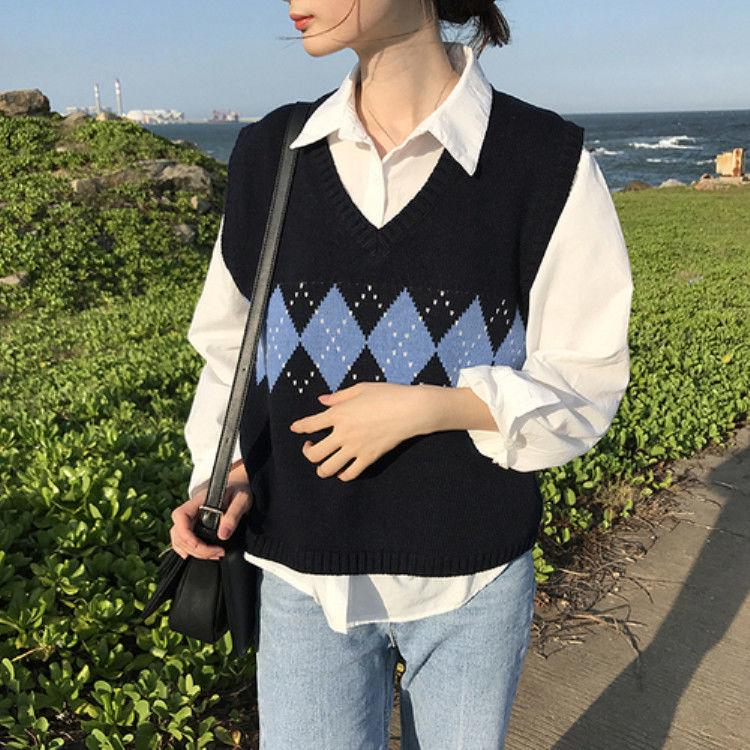 Argyle Spliced Sweater Vest Women V-neck Casual Vintage Pullover Knitted Sweater