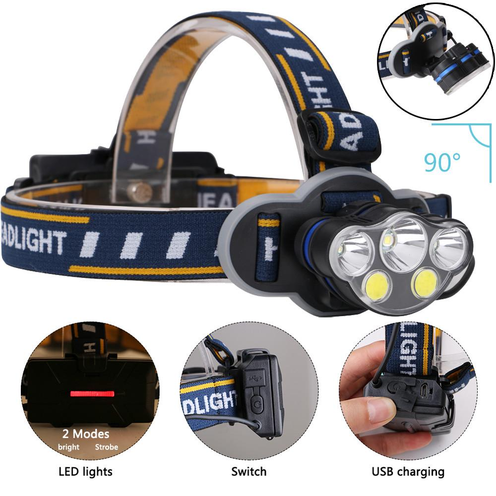 Camping 90000LM 9*T6LED Headlamp Headlight+18650 USB Rechargeable Head Torch z
