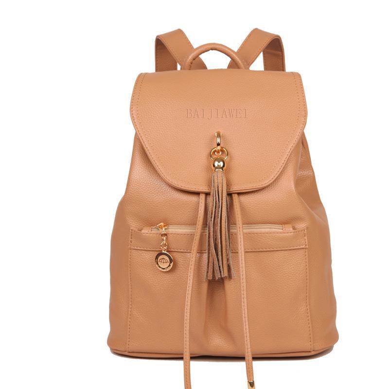 92ef6e41d4dc BAIJIAWEI Женский рюкзак из полиуретановой кожи в стиле кэжуал с кисточкой  для путешествий и учебы
