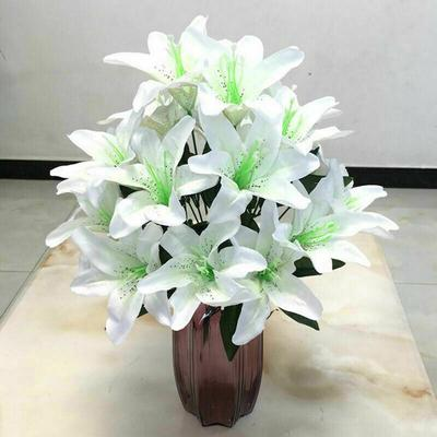10 Heads Silk Lillies Artificial Flowers In Vase Bouquet Wedding Home Party Deco