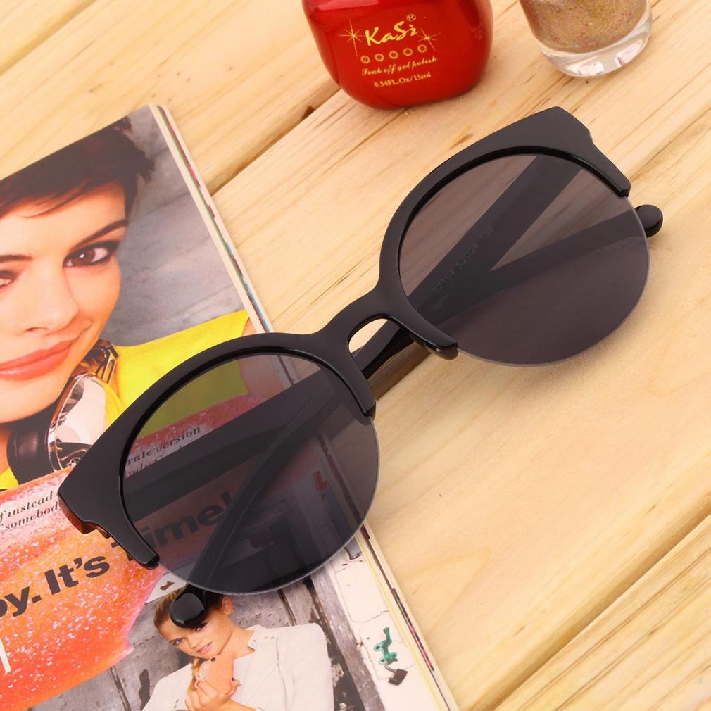 Unisex Retro-Runde Kreis Rahmen halb randlose Sonnenbrille – günstig ...