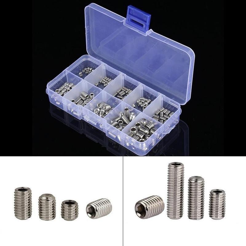 200 pcs Tornillo Grub de Acero Inoxidable Hexagonal Surtido Kit M3-M8