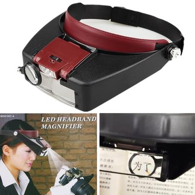GZDL Adjustable Headband 10X Lighted Magnifying Glass Watch Repair Tool Head Magnifier