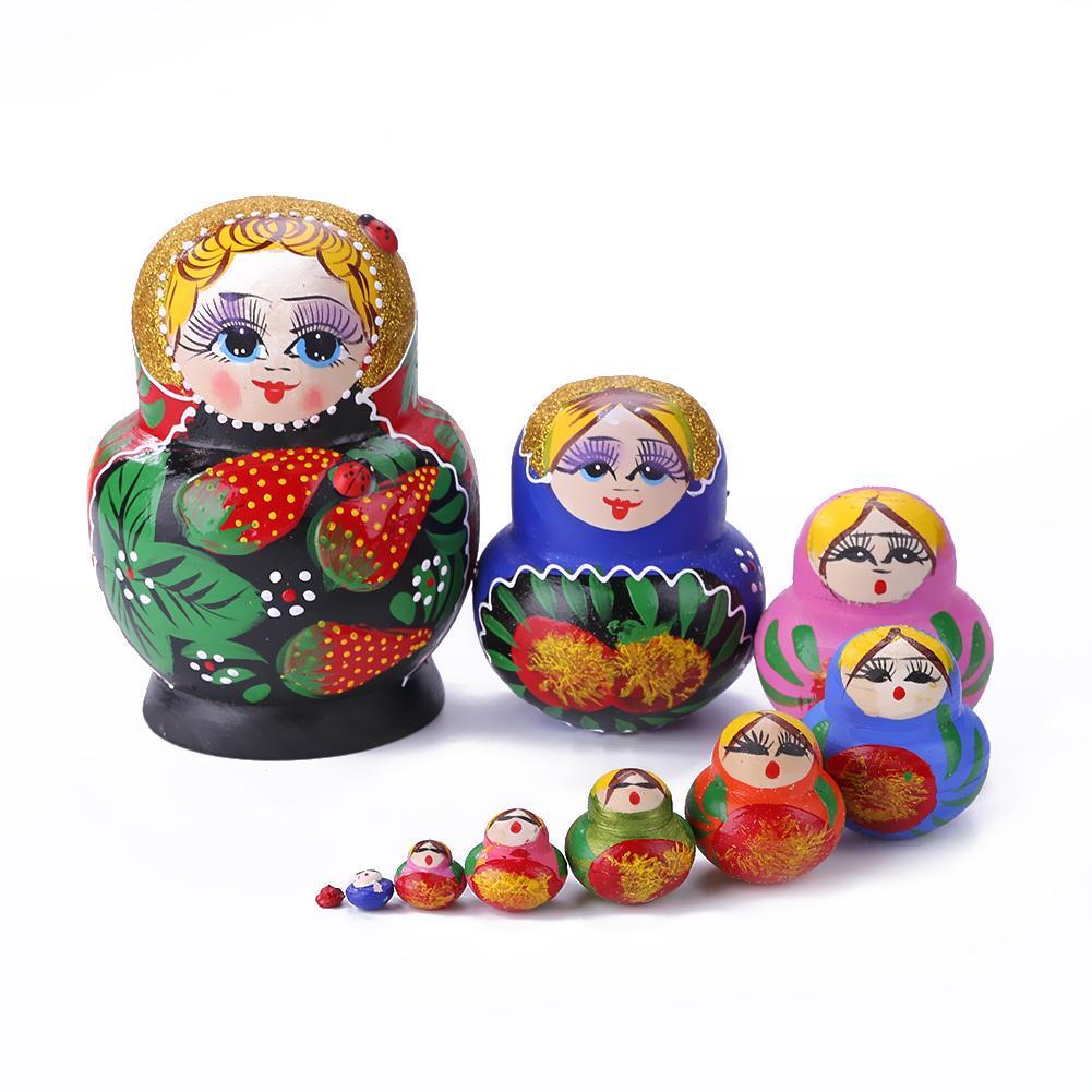 10pcs Strawberry Flower Girl Nesting Dolls Matryoshka Russian Doll Set Toy Craft