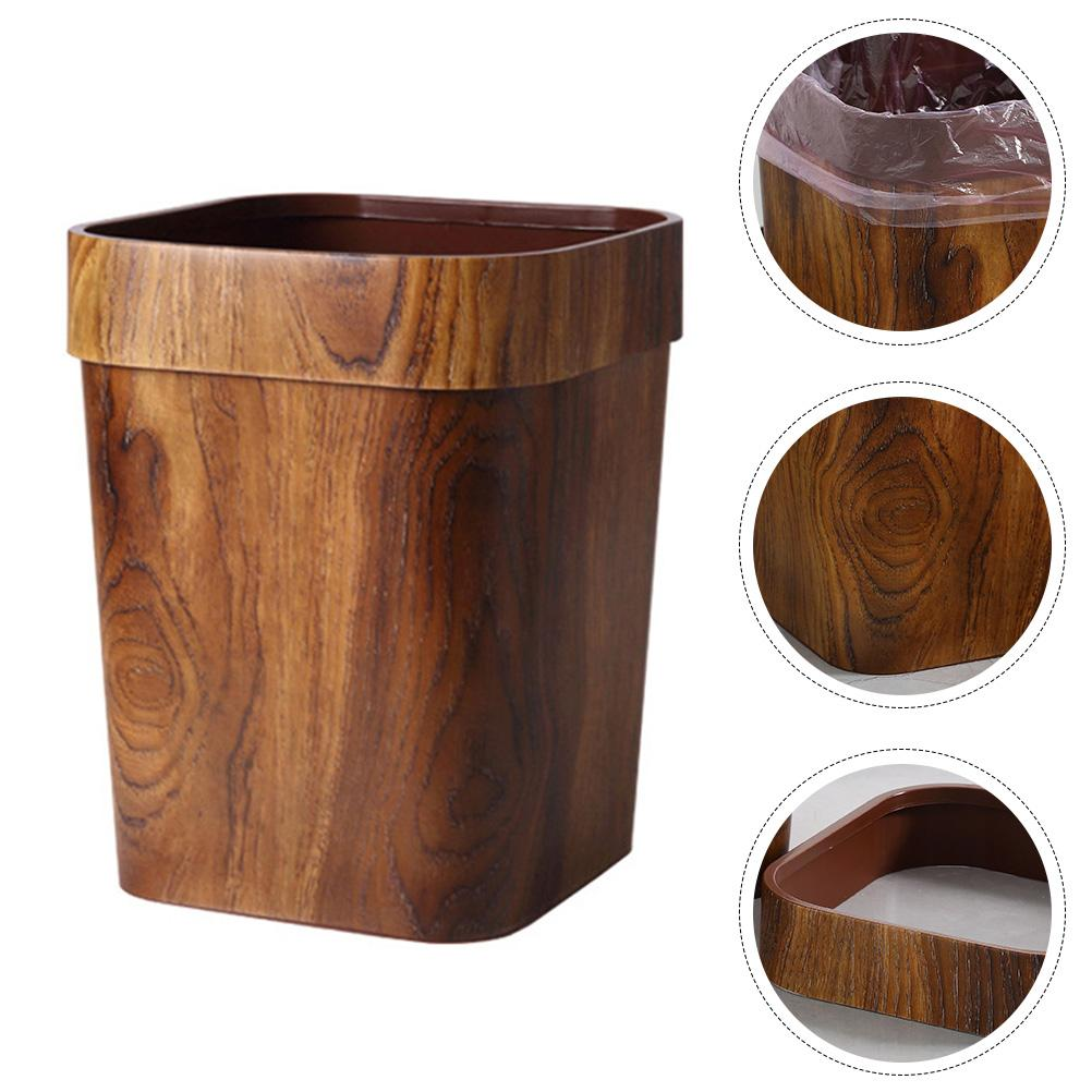 1PC Creative Rubbish Bin Imitated Wood Trash Can for Dorm Home Room