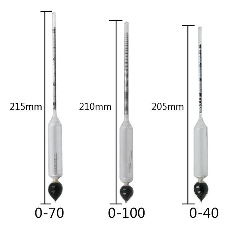 Thermometer 3 Pcs 0-100/% Hydrometer Alcoholmeter Tester Set Alcohol Concentration Meter