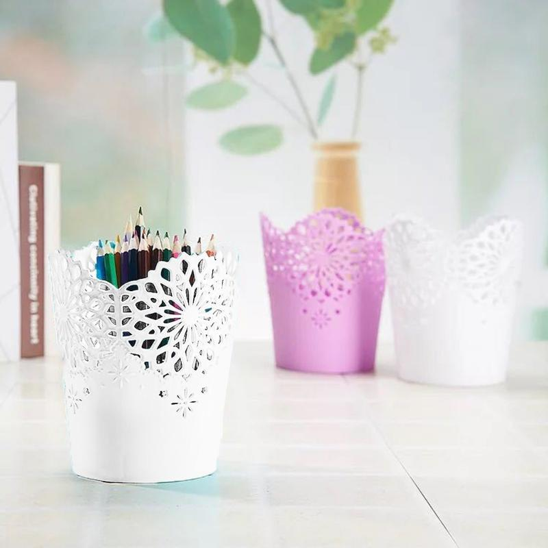 Plastic Rattan Pattern Vase Flower Storage Basket Pen Case Holder Table Decor