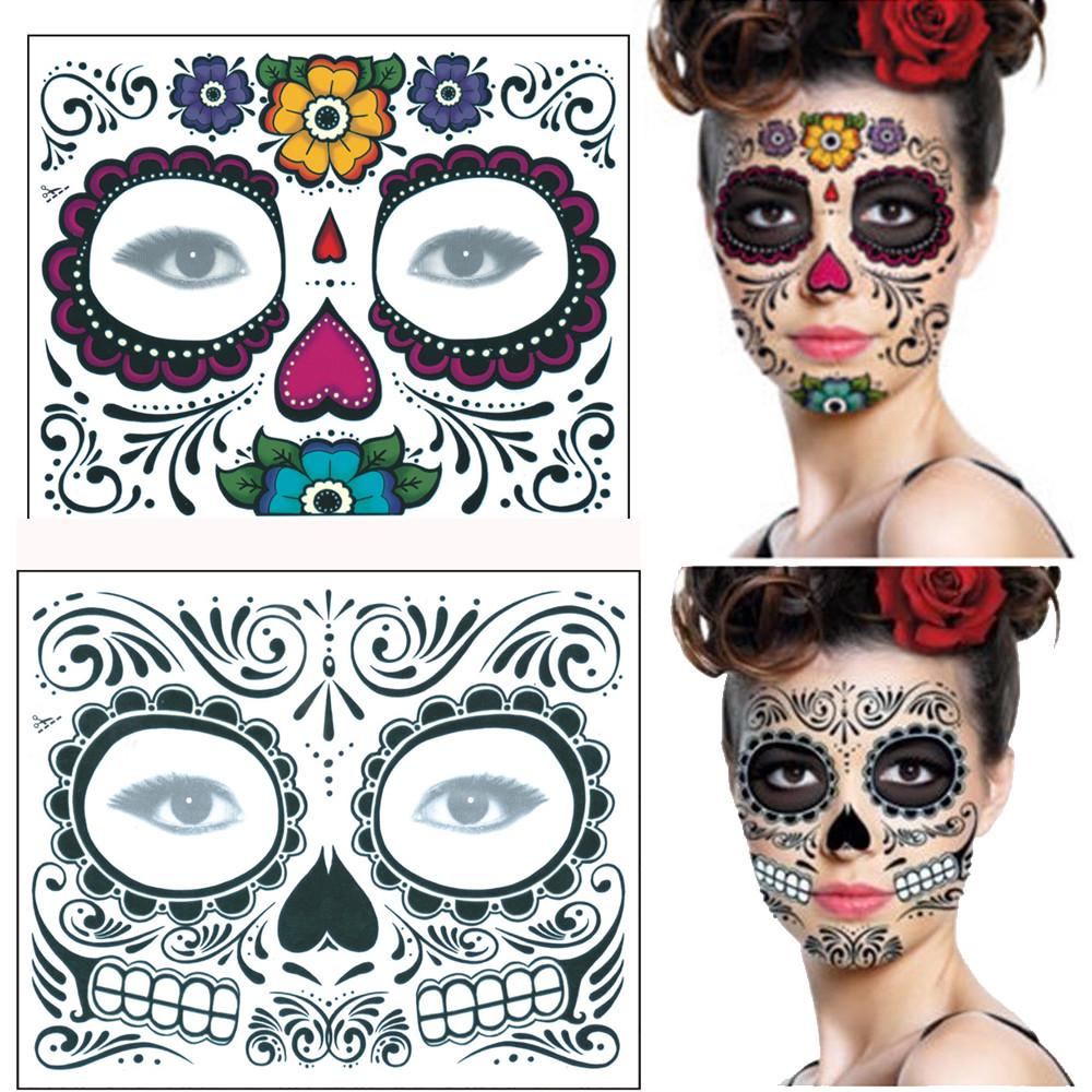 2PCS Day Of The Dead Dia De Los Muertos Face Mask Sugar Skull Tattoo Beauty