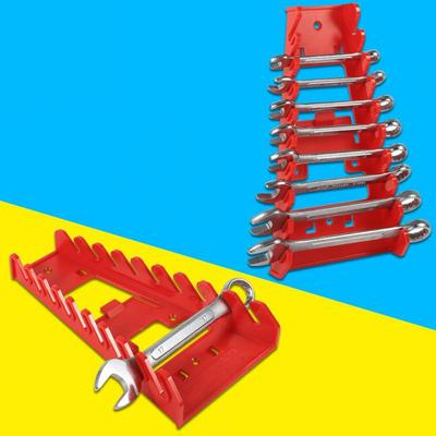 Wrench Holder,Red Wrench Organizer,9 Slot Red Plastic Wrench Rack Standard Organizer Holder Storage Tool Wrenches Keeper for Home Industry Use