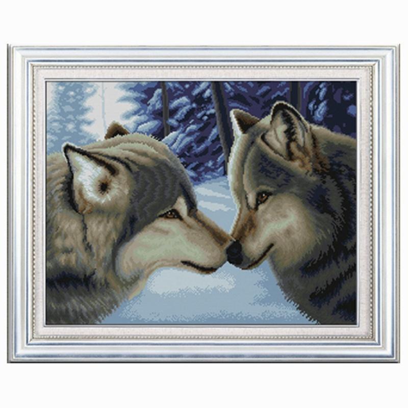 特价2017十字绣新款客厅 5d钻石画两匹狼动物魔方圆钻卧室外贸