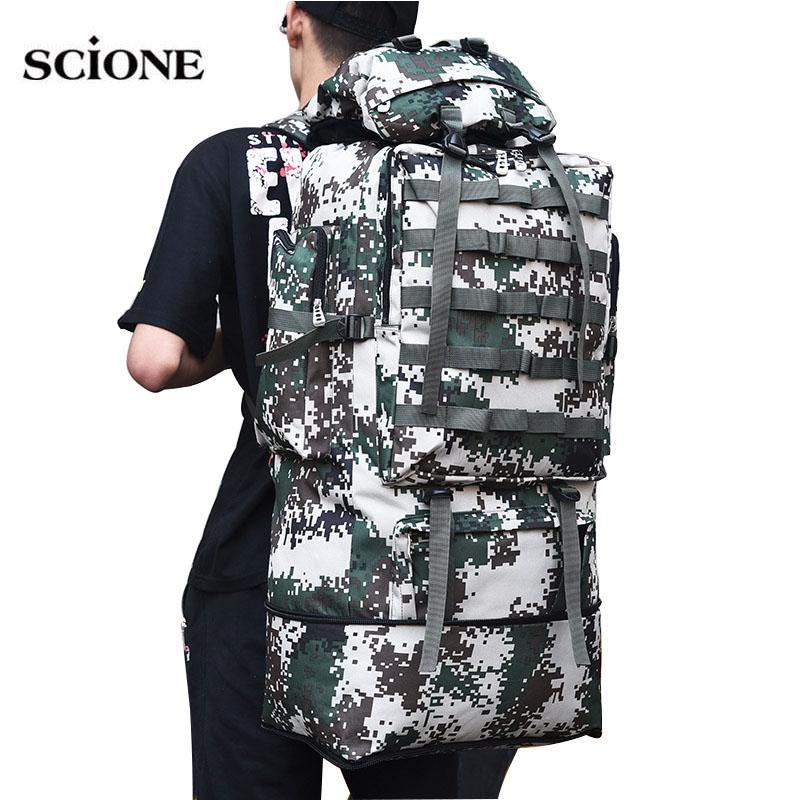 US 100L Military Tactical Backpack Army Hiking Outdoor Rucksack Camping