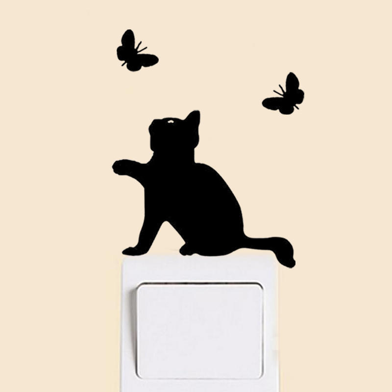 Cute Black Cat Light Switch Wall Stickers Removable Home Art Mural Decal DIY New