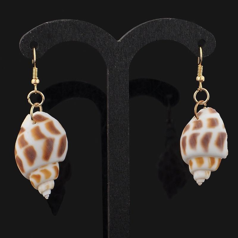 Beautiful Conch Seashells Shape Dangle Earring Metal Hook  Shells Ocean Pop