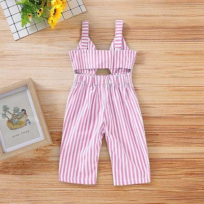 US Newborn Infant Baby Girl Boy Backless Striped Romper Overall Jumpsuit Clothes