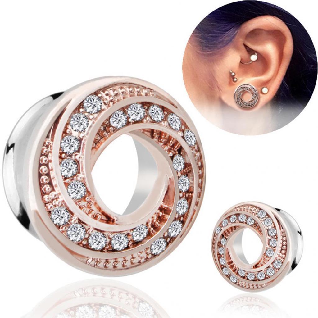 Jewelry Rhinestone Screw 1Pair Ear Plugs Stainless Steel Crystal 4-14mm