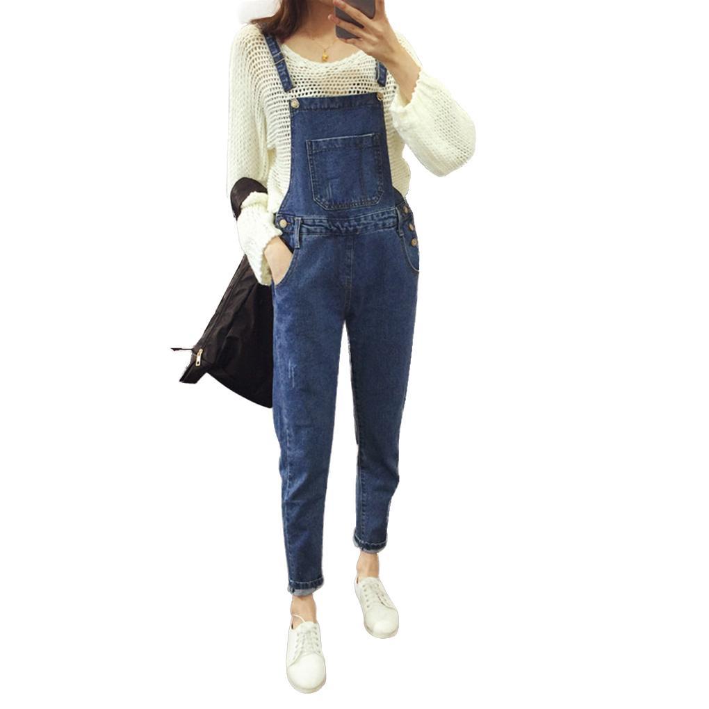 350936e8b Mujeres chica tirantes azul pantalón pitillo elástico señora ...