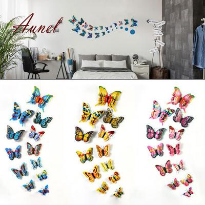 12 Pcs 3D Butterfly Wall Stickers Multicolor Crafts Butterflies Magnetic Decals for Kids Room Decoration Night Light Stickers 3D Butterfly Stickers