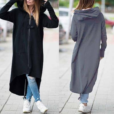 Women's Fashion Fleece Sweatshirt Hooded Jacket Zipper Long