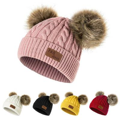 Newborn Baby Warm Wool Knit Beanie Dual Fur Pom Bobble Beret Hat Crochet Ski Cap