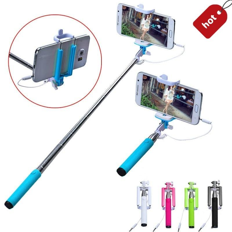 Travel Folding Wired Selfi Selfie Stick Lipstick Self-Pole for iPhone Android