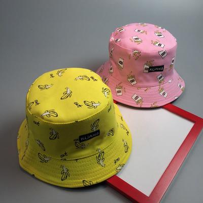 291bf99a4e1 French Fries Banana Printed Cap Two Side Reversible Caps Ladies Beach  Sunscreen Bucket Hat caps
