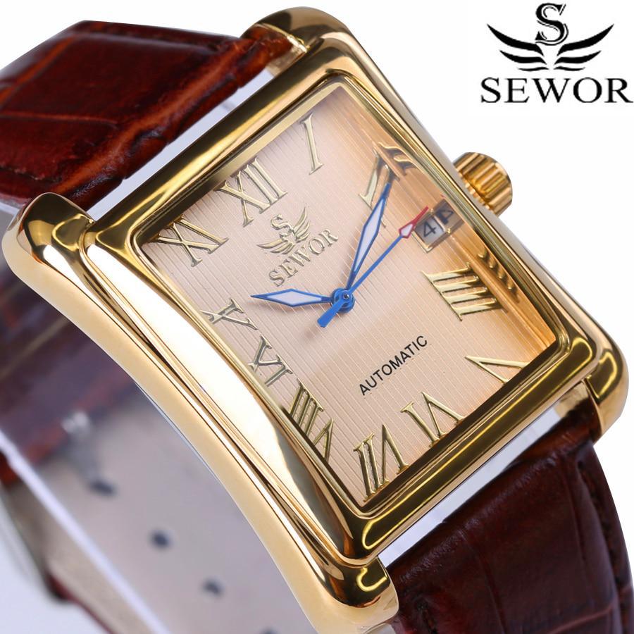Мужские механические часы прямоугольной формы SEWOR с подарочной коробкой – купить по низким ценам в интернет-магазине Joom