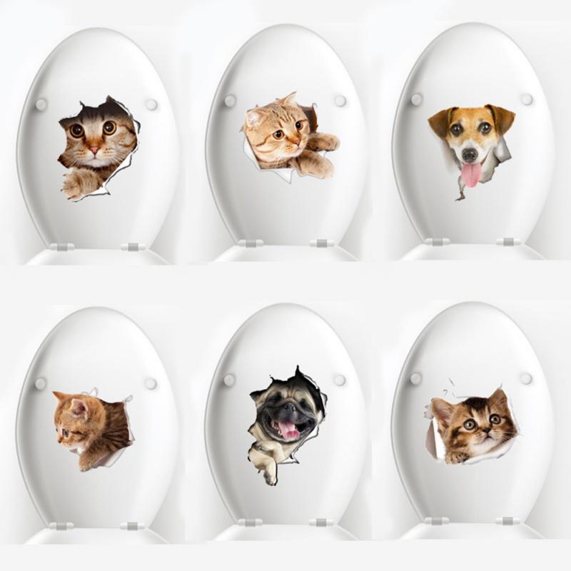 Waterproof 3D Dog Cat Bathroom Toilet Seat Wall Sticker DIY Stikers Bath CO