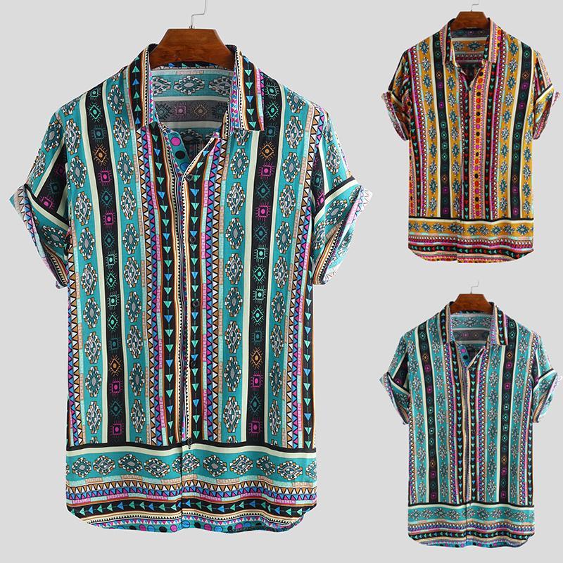 INCERUN Hawaii Style Beach Shirts Mens Summer Tropical Striped Shirts for Men Short Sleeve T-shirt