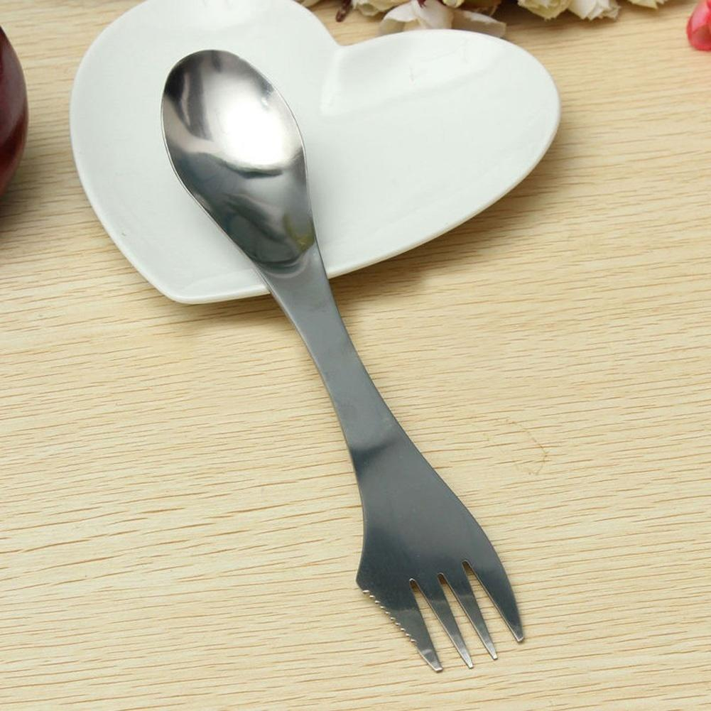 3 in 1 Stainless Fork Spoon Spork Cutlery Utensil Combo Kitchen Outdoor Picnic h