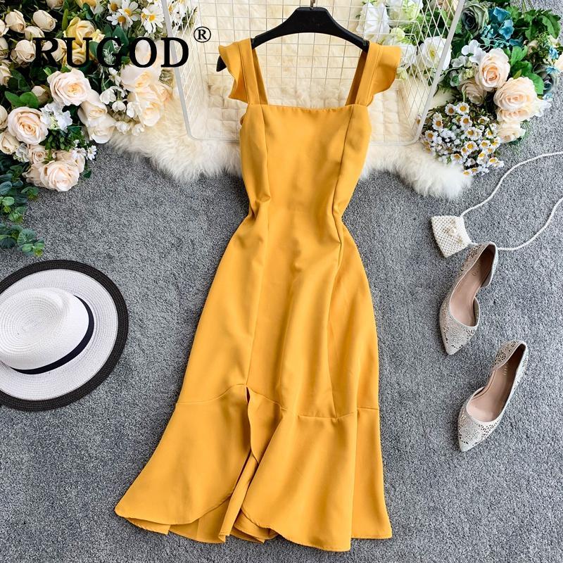 Платье женщин Летний корейский Chic квадратный воротник Высокий Waist Платья случайные леди Простые Vestidos – купить по низким ценам в интернет-магазине Joom