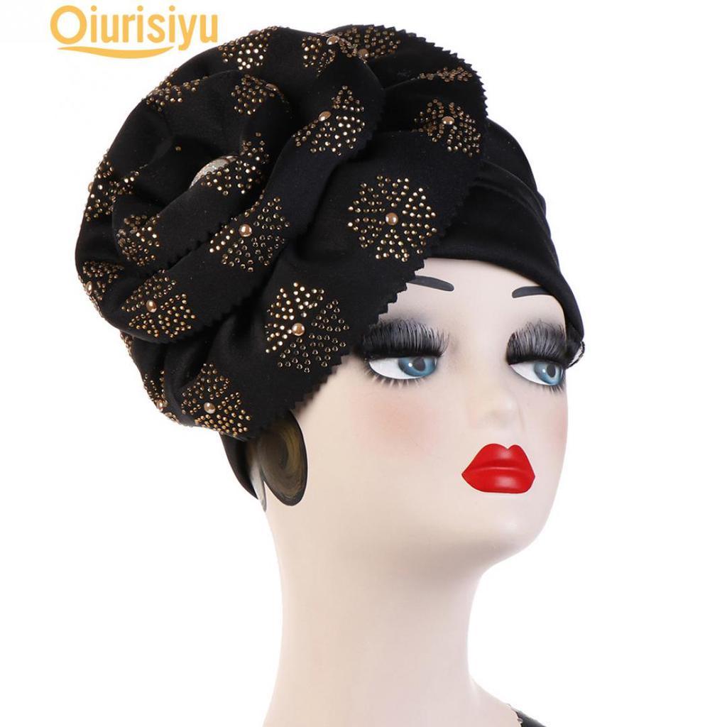 Fashion Femme Inde musulmane Stretch Velours Floral Turban Hat Head Scarf Wrap Cap