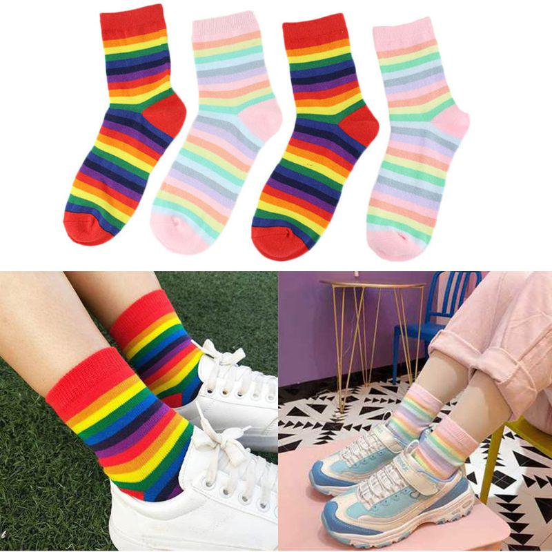 1-3 Pairs Women Crew Socks Striped High Ankle Stocking Cotton Socks Breathable