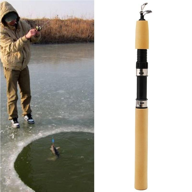 1 pc Portable Mini Ice Fishing Rod 33cm High Durable Fishing Pole With Reels