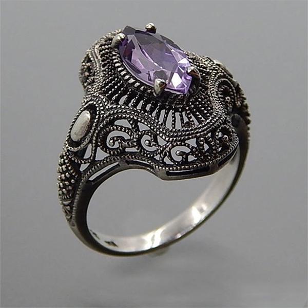 Ретро Винтаж Антикварный Серебряный Цвет Холлоу Резные кольца пасьянс фиолетовый цвет Хрустальные кольца ювелирные изделия фото