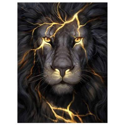 Drill DIY 5D Crafts Diamond Home Decor Embroidery Cross Stitch White a male lion