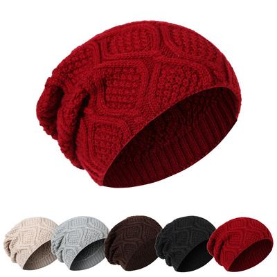 Knit Men and Women Autumn and Winter Wool Hat Outdoor Male Warm Knitted Cap  Baggy Bonnet 98571b55b770